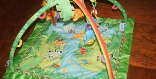 baby gym rainforest fisher price with 3 hanging toy photo
