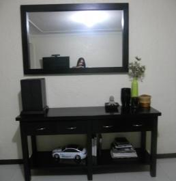 Wooden ( Yakal Wood ) Console Table with Matching Mirror photo