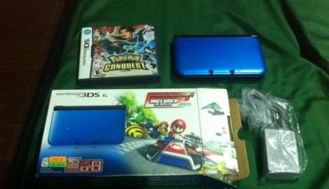 Nintendo 3DS XL Blue 2 Games Pokemon Conquest Mario Kart photo