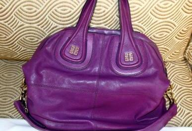 Authentic Givenchy Medium Nightingale in Puple Lambskin Ghw photo