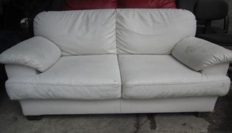 Red and White 2 seater Sofa photo