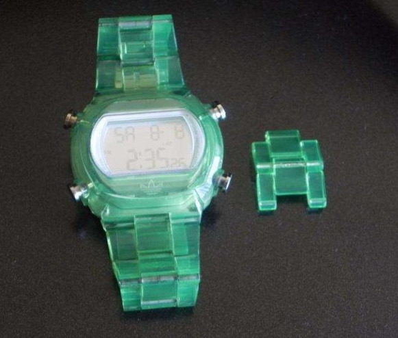 ADIDAS Candy Digital Chrono Green Clear Acrylic Watch photo