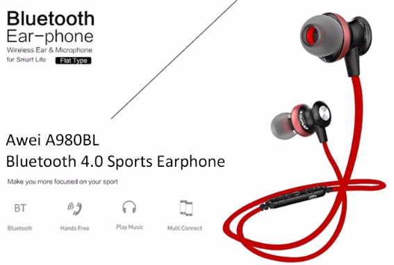 Awei A980bl Noise-Isolation Sweat-Proof with Magnetic Lock Bluetooth 4.0 Wireless Sporty In-Ear Headset image 3