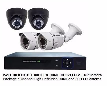 ISAFE CCTV CAMERA PACKAGE HD4CHKITP4-BULLET & DOME photo