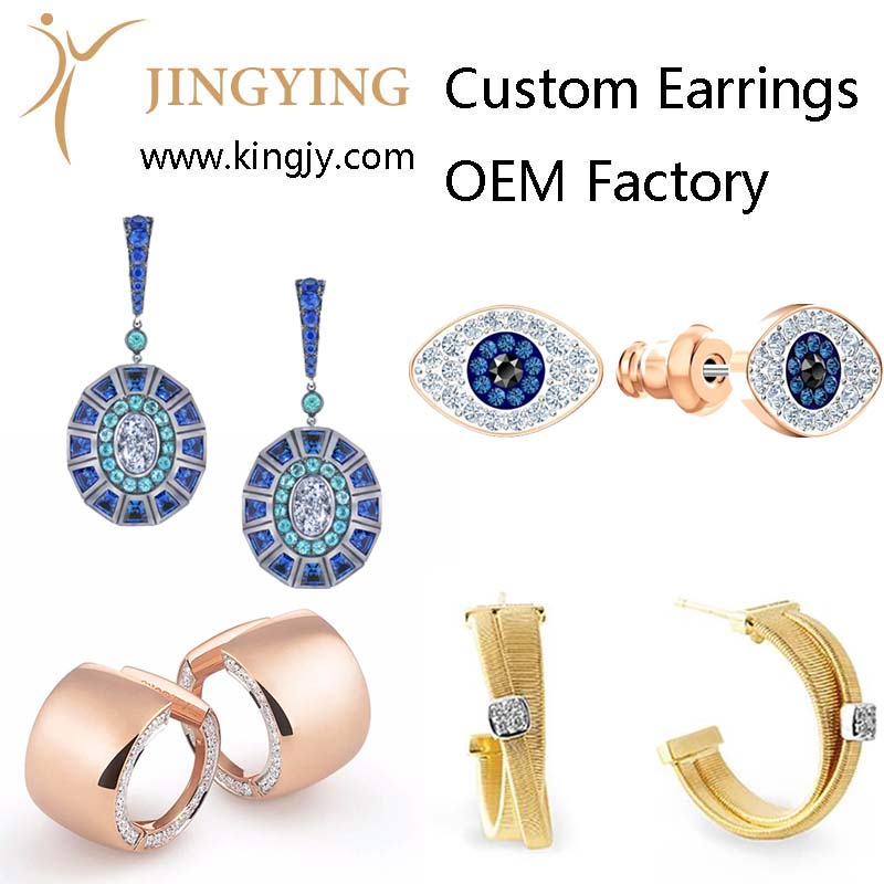 Custom earrings gold plated silver jewelry supplier and wholesaler photo