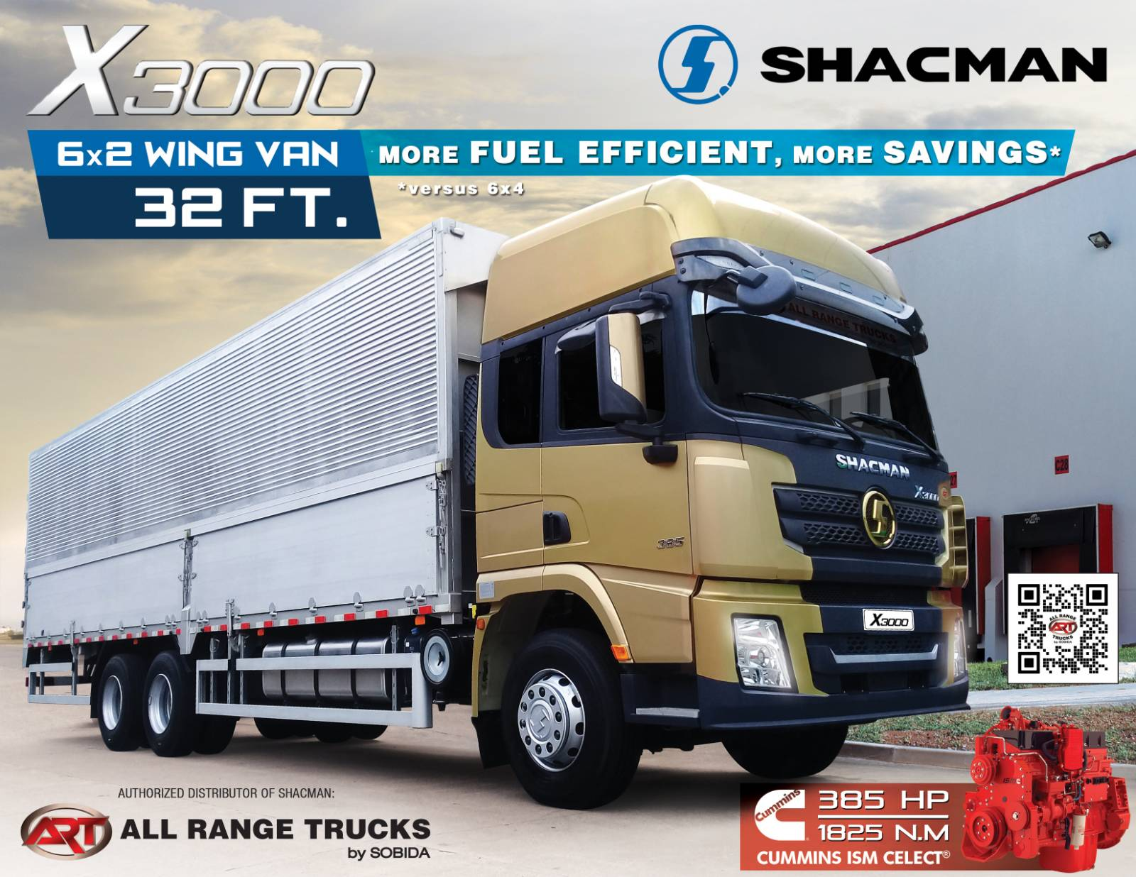 Shacman X3000 6x2 Wing Van Rigid Truck 10 wheeler SX1256XXY4T583C photo